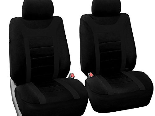 FH Group FB070BLACK102 Black Sport Bucket Front Seat Cover Set Of 2 Airbag Ready Solid
