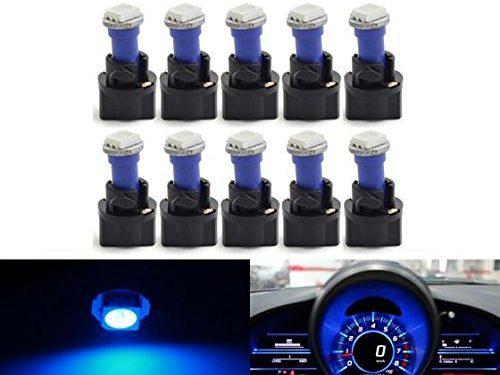 Partsam T5 73 74 5050 SMD Instrument Panel LED Light Gauge Cluster Indicator Bulbs Dash Light with Twist Socket, Blue, Pack of 10
