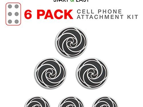 Black & White Swirly Design by SMART & EASY – Magnetic Cell Phone Holder Adhesive Metallic Plates – 3X Standard Size & 3X Large Size Cell Phone Metal Plates
