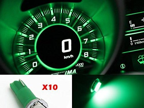 Partsam 10x T5 74 1-5050-SMD Car Dashboard Gauge Side LED Light Bulbs Lamp 12V Green For Plymouth Fury