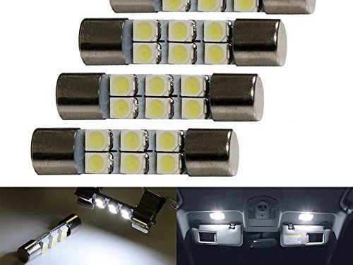 iJDMTOY 4pc White 6-SMD 29mm 6614 LED Replacement Bulbs For Car Sun Visor Flips Vanity Mirror Lights