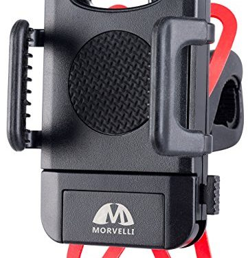 Morvelli Bike Phone Mount, Universal Bicycle Cell Phone Holder For Cellphone, GPS n Other Devices, Top iOS Android Phone Holder Cradle With 360 Degree Swivel, Rubber Strap, One Click Release Feature