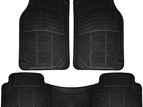 Black – OxGord Universal Fit 3-Piece Full Set Ridged Heavy Duty Rubber Floor Mat