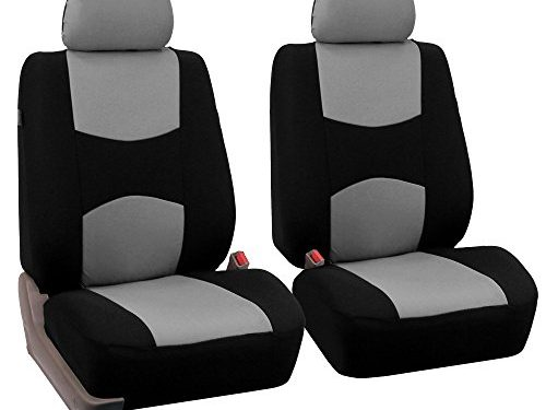 FH Group Universal Fit Flat Cloth Pair Bucket Seat Cover, Gray/Black FH-FB050102, Fit Most Car, Truck, Suv, or Van