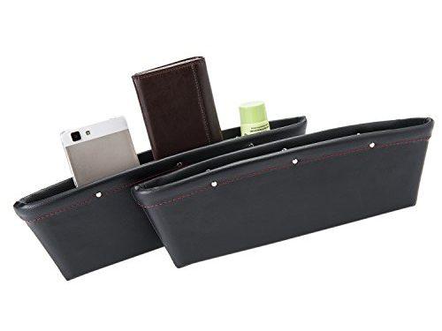 autvivid 2 PCS Car Seat Catcher Gap Filler Organizer Side Slit Pocket Black