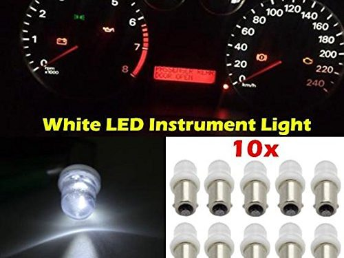 Partsam 10pcs White BA9s Bayonet LED Light Bulb 53 57 1895 Gauge Cluster Dash Lights Lamp Kit
