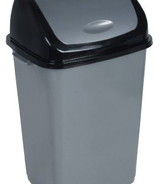 13-Gal. Trash Bin Color: Grey and Black