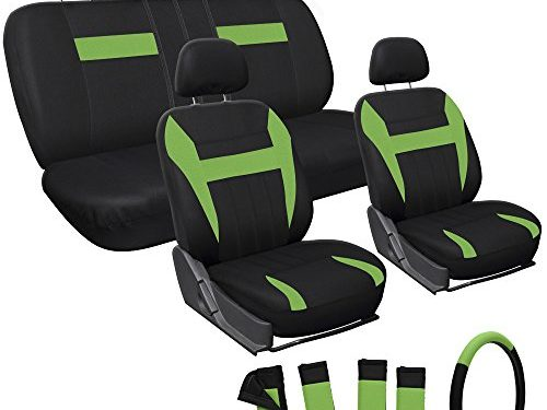 OxGord 17pc Set Flat Cloth Mesh Original Seat Cover Set- Airbag – Universal Fit for Car, Truck, SUV, Van – Steering Wheel Cover Lime Green/ Black – Front Low Back Bucket Seats