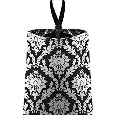 litter bag/garbage can for your car – Auto Trash Black Damask by The Mod Mobile