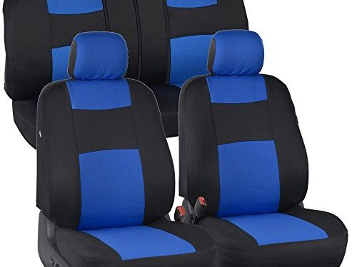 EasyWrap Two-Tone Accent Interior Protection for Auto – PolyCloth Black/Blue Car Seat Covers