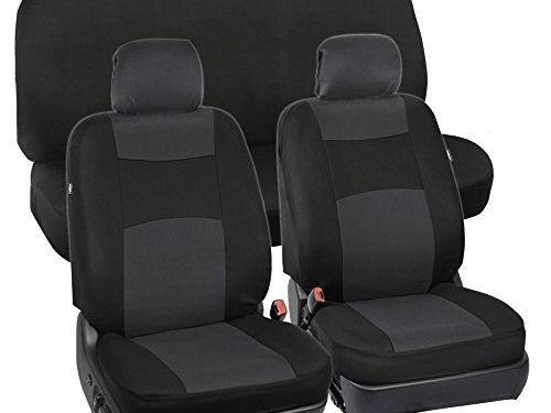 BDK PolyCloth Black/Charcoal Gray Car Seat Cover Easy Wrap Two-Tone Accent for Auto