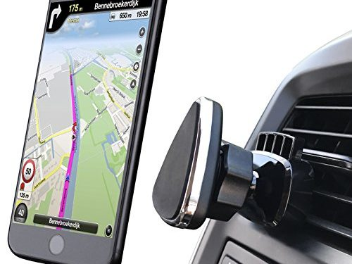 Car Mount, NOVOLAND Universal Cell Phone Magnetic Car Air Vent Mount Holder, Easy One Click Lock Design Strong Magnet 360 Rotation, Fits Apple iPhone Android Samsung Nexus HTC, Black