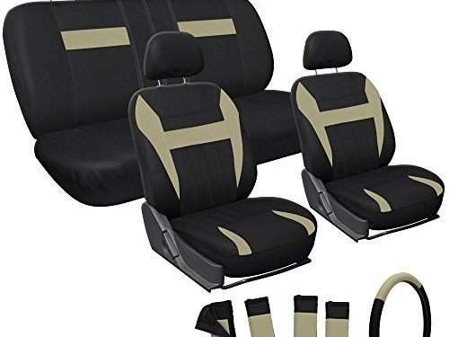 OxGord 17pc Set Flat Cloth Mesh Tan Black Auto Seat Cover Set-Airbag-Front Low Buckets-50-50 or 60-40 Rear Split Bench-5 Head Rests-Universal Fit for Car, Truck, Suv, or Van-Steering Wheel Cover