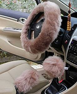 Yontree Winter Warm Faux Wool Handbrake Cover Gear Shift Cover Steering Wheel Cover 14.96″x 14.96″ 1 Set 3 Pcs Cameo Brown