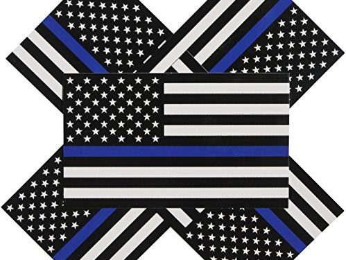 Thin Blue Line Flag Decals – 3×5 in. Black, White, and Blue American Flag Stickers for Cars and Trucks – In Support of Police and Law Enforcement Officers 5-pack