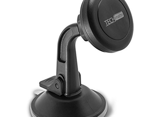 Dashboard Mount TechMatte MagGrip Dashboard and Windshield Magnetic Universal Car Mount Holder for Smartphones including iPhone 7, 6, 6S, Galaxy S7, S7 Edge – Black