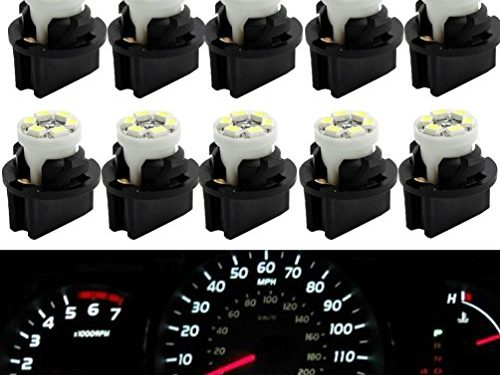 Partsam T10 194 LED Light bulb 168 LED Bulbs Bright Instrument Panel Gauge Cluster Dashboard LED Light Bulbs Set 10 T10 LED Bulbs with 10 Twist Lock Socket – White