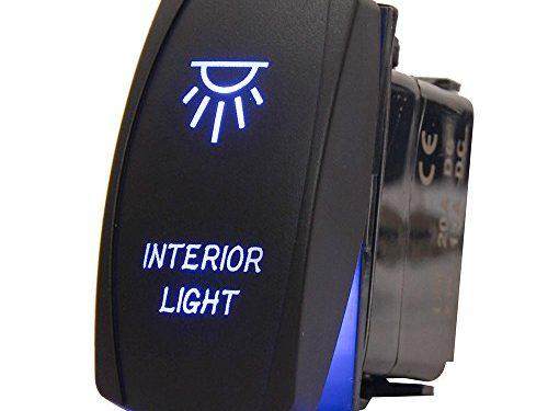 MICTUNING Laser Backlit Rocker Switch Kit for Vehicle Boat Marine, On/Off, INTERIOR LIGHT, 20A 12V LED Light, Blue