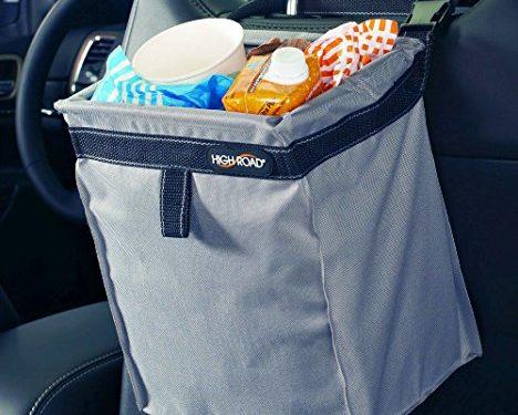 High Road TrashStash Leakproof Hanging Car Trash Bag with Spring Frame Closure – Gray