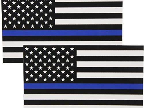 Fine Line Flag Auto Decals Thin Blue Line Flag Sticker 3×5 in. Black White and Blue 2-Pack
