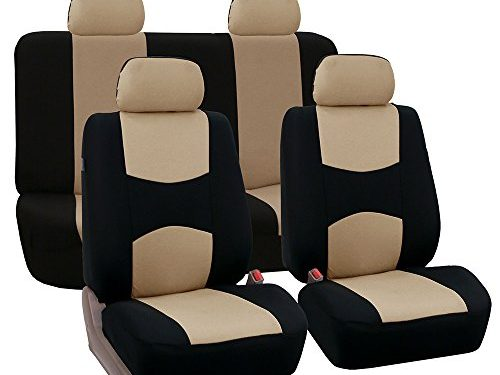 FH Group Universal Fit Full Set Flat Cloth Fabric Car Seat Cover Beige/Black FH-FB050114, Fit Most Car, Truck, Suv, or Van