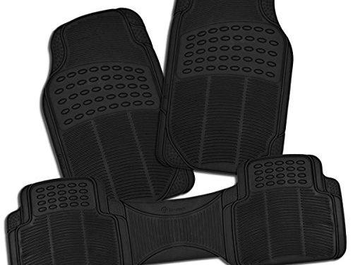 Zone Tech All Weather Rubber Semi Pattern Car Interior Floor Mats – 3-Piece Set Black Heavy Duty Car Interior Floor Mats