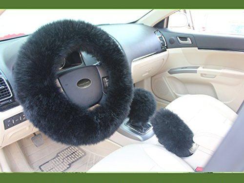 Valleycomfy Fashion Steering Wheel Cover for Women/Girls/Ladies Australia Pure Wool 15 Inch 1 Set 3 Pcs, Black