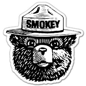 Smokey the Bear Firefighting WILDFIRE sticker 4″ x 4″