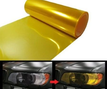 12 by 48 Inches Self Adhesive Headlight, Tail Lights, Fog Lights Tint Vinyl Film 12 X 48, Gold