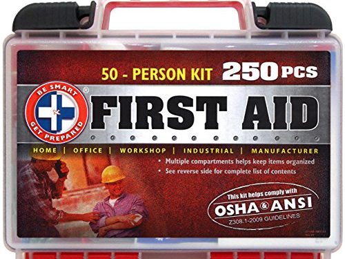 "Office, Home, Car, School, Emergency, Survival, Camping, Hunting, and Sports "" – ""Be Smart Get Prepared 250 Piece First Aid Kit, Exceeds OSHA ANSI Standards for 50 People"