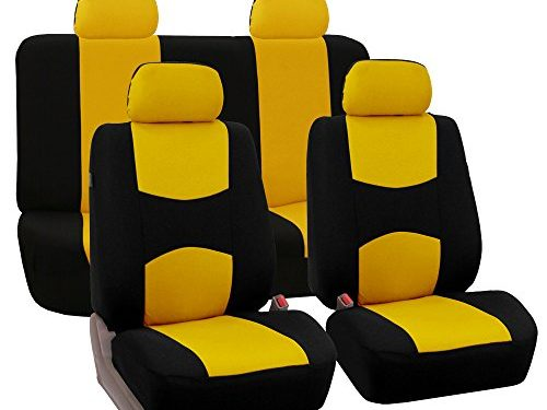 FH Group Universal Fit Full Set Flat Cloth Fabric Car Seat Cover, Yellow/Black FH-FB050114, Fit Most Car, Truck, Suv, or Van