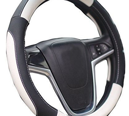 Mayco Bell Car Steering Wheel Cover 15 Inches Comfort Durability Safety Black White