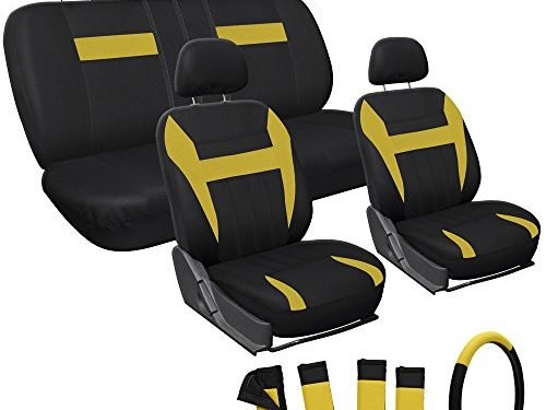 OxGord 17pc Set Flat Cloth Mesh Yellow Black Auto Seat Cover Set-Airbag-Front Low Buckets-50-50 or 60-40 Rear Split Bench-5 Head Rests-Universal Fit for Car, Truck, Suv, or Van-Steering Wheel Cover