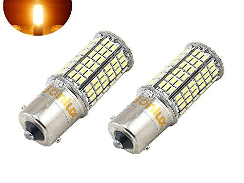 Bonlux 2-pack 5W 1156 Ba15s Single Contact Bayonet LED Bulb 10-30V Warm White 1156 1141 1003 1073 1093 Ba15s LED Replacement for Interior Car RV Camper Boat Yard Lighting