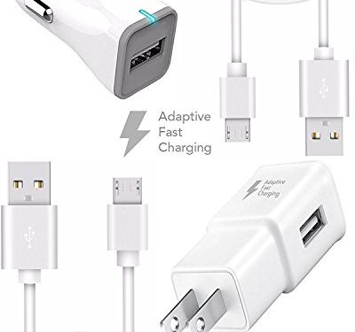 Galaxy S7 and S7 Edge for Samsung Adaptive Fast Charger Micro USB 2.0 Cable Kit by Ixir {Wall Charger + Car Charger + 2 Cable} Adaptive Fast Charging uses dual voltages for up to 50% faster charging!