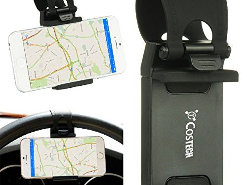 Car Mount, Costech Steering Wheel Stand GPS Rubber Band Holder for Iphone 6,6s,6plus,5s ,Samsung Galaxy S6,S5,Note 5,4,3,Other Not More than 5.5 Inch Moblie Phone CM1009-Black