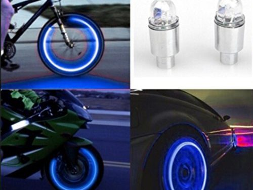Car Tyres Lamp,Fabal Auto Accessories Bike Supplies Neon Blue Strobe LED Tire Valve Caps Blue
