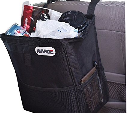 Large Car Trash Can, 12x11x7 Inches, LeakProof Plastic Liner, Long Lasting Materials and Build, Fully Mountable with 2 Stabilizing Straps. Car Garbage Can To Protect Your Car Today!