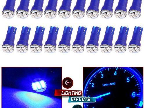 CCIYU 20 Pack Blue T5 3-3014 SMD Wedge LED Light Bulbs 74 17 18 37 70 73 2721 for Instrumental Cluster Gauge Dashboard