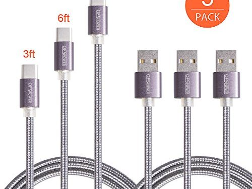 Type C Cable,Ofspower 3Pack 3ft 6ft 10ft Nylon Braided USB C Data & Charging Cable with Aluminum Connector for Nexus 6P/5X, LG G5, OnePlus 2 and More Black