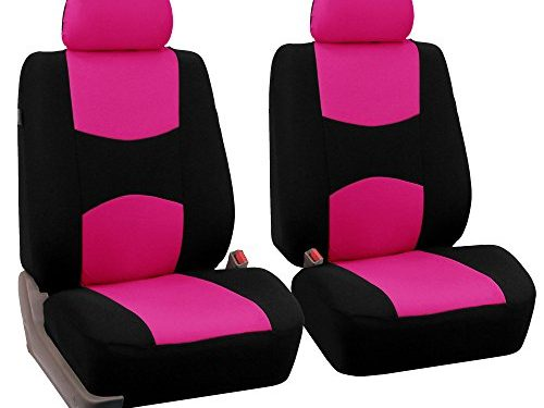 FH Group Universal Fit Flat Cloth Pair Bucket Seat Cover, Pink/Black FH-FB050102, Fit Most Car, Truck, Suv, or Van