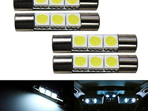iJDMTOY 4 3-SMD 29mm 6614F LED Replacement Bulbs For Car Sun Visor Vanity Mirror Lights, Xenon White