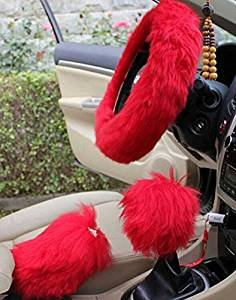 Yontree Winter Warm Faux Wool Handbrake Cover Gear Shift Cover Steering Wheel Cover 14.96″x 14.96″ 1 Set 3 Pcs Red