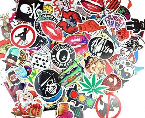 Evinis – Pack of 200 Random Cool Music Film Vinyl Skateboard Guitar Travel Case Sticker Lot Pack Decals