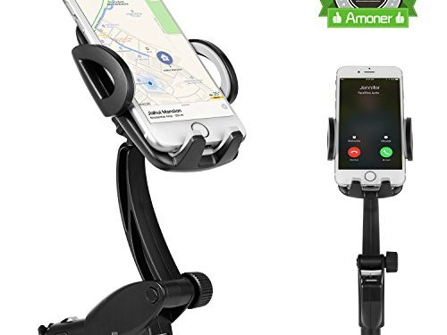 Amoner 3-in-1, Universal 360-Degree Goose-neck Car Mount Charger Holder with Dual USB 3.1A Car Charger for iPhone 7, 7 Plus, 6/6S, 6/6S Plus, Samsung Galaxy S8/S7, S7 Edge and More Smartphones