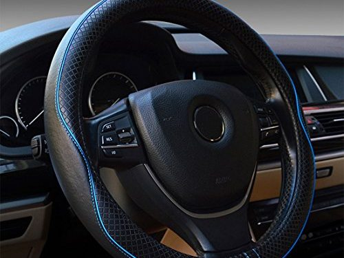 Black and Blue Line – Genuine Leather Heavy Duty, Durable, Sporty Wave Pattern, Universal 15 Inch – Rueesh Car Steering Wheel Cover