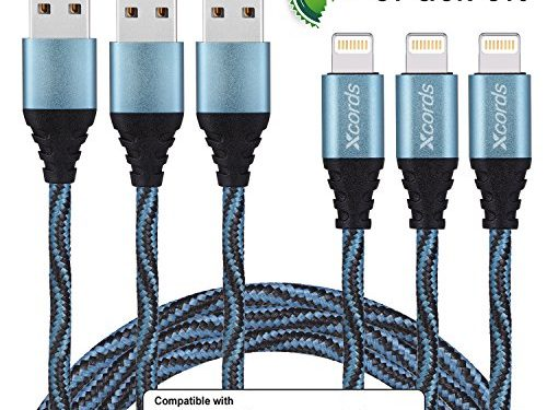 XcordsTM 3Pack 6Ft Nylon Braided 8 Pin Lightning to USB Cable Data Syncing Cord Compatible with iPhone 7/ 7 Plus/6/ 6 Plus/ 6s/ 6s Plus /5/5s/5c/SE/iPad/iPod/Beats Pill+Blue