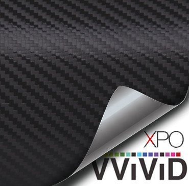 VVIVID XPO Black Carbon Fiber Car Wrap Vinyl Roll Featuring Air Release Technology 50ft x 5ft