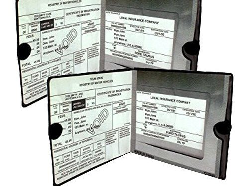Automobile, Motorcycle, Truck, Trailer Vinyl ID Holder & Visor Storage – Necessary in Every Vehicle – ESSENTIAL Car Auto Insurance Registration BLACK Document Wallet Holders 2 Pack – 2 Pack Set – BUNDLE, 2pcs – Strong Velcro Closure On Each