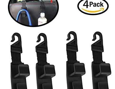 Strong And Durable Backseat Headrest Hanger Storage For Handbags, Purses, Coats, and Grocery Bags, Universal Vehicle Car Seat Back Headrest Bottle Holder – 4 Pack Car Seat Headrest Hooks By Lebogner